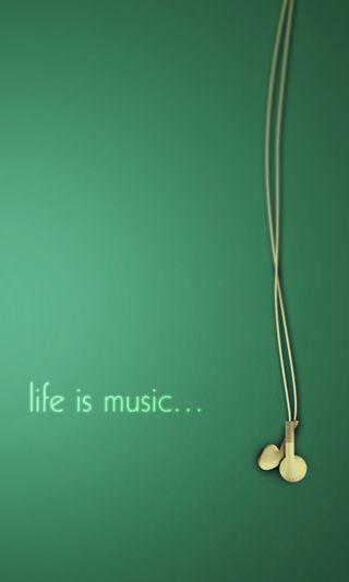 Обои на телефон музыка, зеленые, жизнь, высказывания, life is music