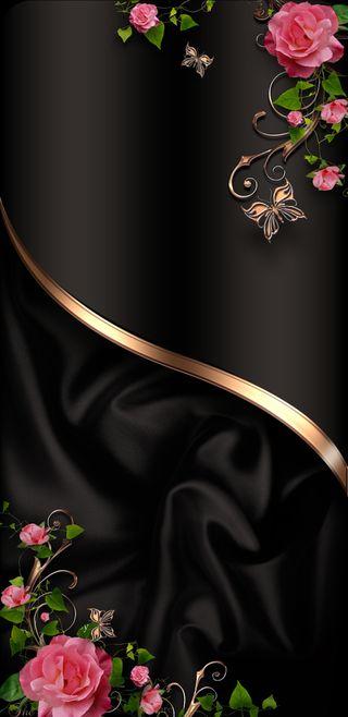 Обои на телефон шелк, девчачие, черные, симпатичные, розы, розовые, золотые, бабочки, classical roses