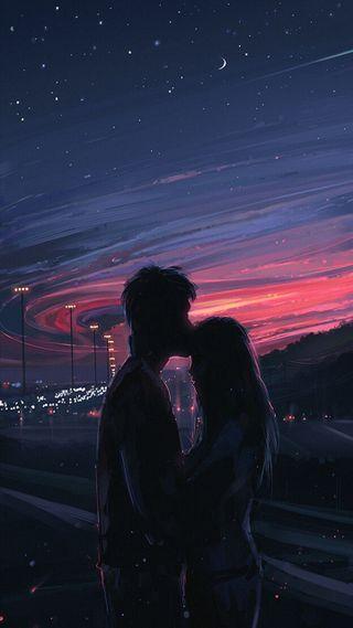 Обои на телефон холмы, сумерки, пара, облака, небо, звезды, закат, город, pareja, alena aenami