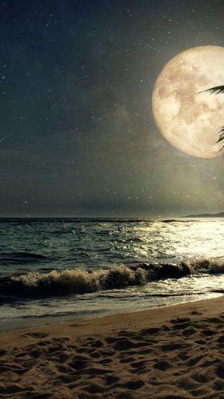 Обои на телефон темы, океан, природа, пляж, пейзаж, луна, moon break
