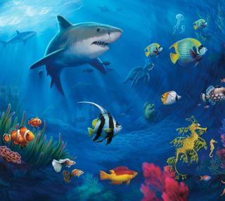 Обои на телефон акула, черепахи, рыби, природа, подводные, кораллы