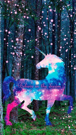 Обои на телефон мечта, текст, розовые, магия, лес, космос, единорог, верить, believe in dream
