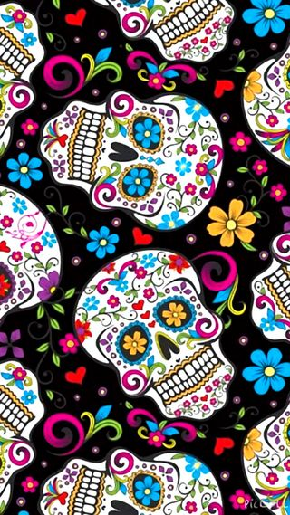 Обои на телефон сахар, шаблон, черные, череп, цветы, симпатичные, красочные, sugarskulls