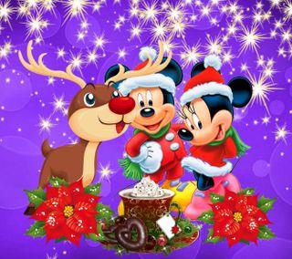Обои на телефон счастливое, рождество, микки, маус, дисней, 1440x1280px, disney