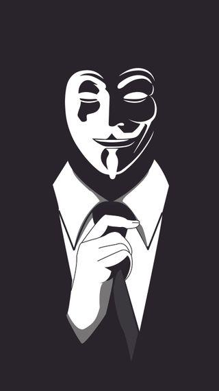 Обои на телефон анонимус, черные, костюм, белые