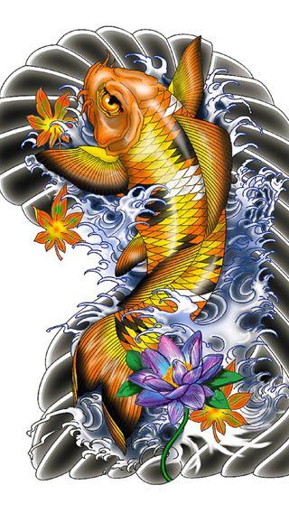 Обои на телефон тату, рыба, другие, koi fish