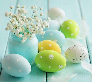 Обои на телефон easter celebraton, синие, цветы, пасхальные, украшение, яйца, декор