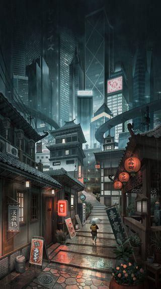 Обои на телефон японские, фонарь, токио, мальчик, улица, ночь, дом, город, adress