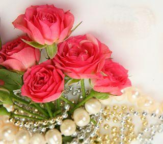 Обои на телефон розы, жемчуг, букет, necklace, jewellery