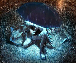 Обои на телефон сидя, мокрые, свет, дождь, аниме, амбрелла