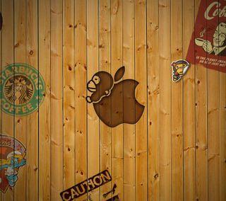 Обои на телефон старбакс, эпл, осторожно, логотипы, apple