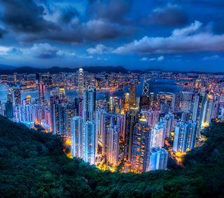 Обои на телефон конг, китай, горы, город, вид, азия, hong kong