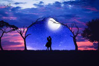 Обои на телефон пары, любовники, ночь, любящий, любовь, звезды, закат, галактика, love, galaxy