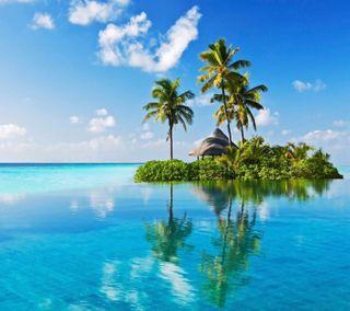 Обои на телефон остров, синие, отражение, океан, небо, лето, деревья, вода