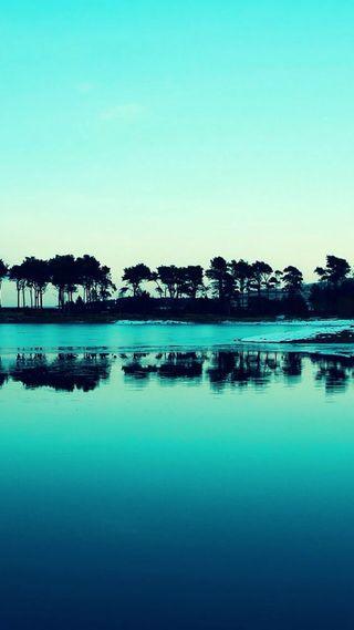 Обои на телефон остров, синие, пейзаж, океан
