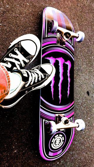Обои на телефон all stars, monster, sk8, skating, фиолетовые, звезды, энергетики, обувь, конверсы, скейтборд, элемент