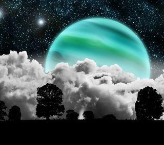 Обои на телефон ультра, планета, облака, ночь, небо, звезды, ultra night