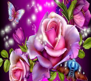 Обои на телефон цветочные, розы, розовые, бабочки, admiring roses