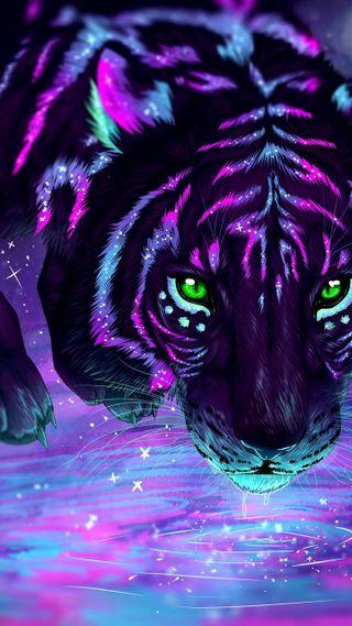 Обои на телефон магия, тигр, тема, неоновые, крутые, кошки