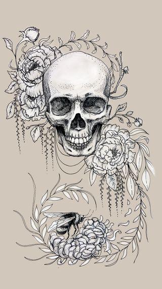 Обои на телефон панк, чернила, череп, цветы, хипстер, татуировки, тату, крутые, дизайн, арт, zedgetat1, zedgeob2, skull flowers tattoo, art