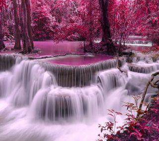 Обои на телефон riber, фиолетовые, лес, осень, водопад