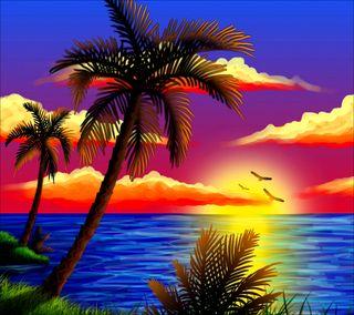 Обои на телефон пальмы, море, закат