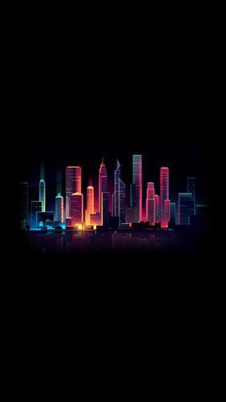 Обои на телефон 929, hd, крутые, новый, темные, розовые, фиолетовые, город, огни, минимализм, тема, светящиеся