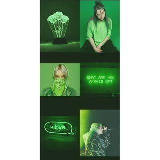 Обои на телефон эйлиш, фон, зеленые, билли