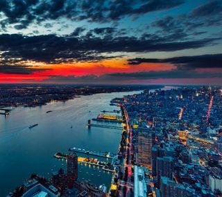 Обои на телефон тьма, удивительные, река, город, горизонт, восход, ultrahd, skyline, hd, city in darkness