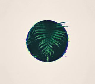 Обои на телефон сбой, ретро, листья, зеленые