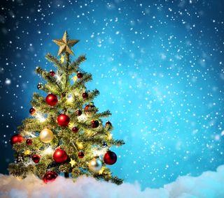 Обои на телефон украшение, счастливое, снег, рождество, ночь, зима, дерево