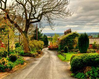 Обои на телефон англия, путь, природа, пейзаж, дорога, дома, весна, uk road