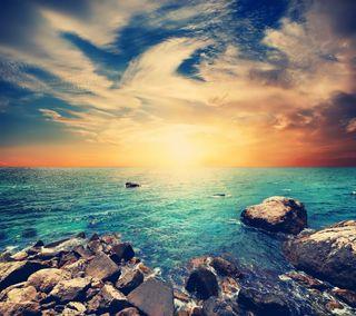 Обои на телефон море, природа, камни, закат, вода