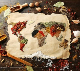 Обои на телефон поверхность, креативные, карта, еда, мир, world map, spices, good idea