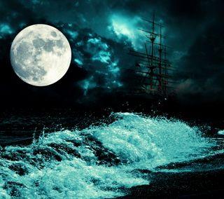Обои на телефон лодки, фон, темные, свет, море, луна, вода, dark moon light sea, boat water
