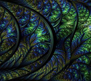 Обои на телефон фрактал, темные, зеленые, абстрактные, iridescent fractal