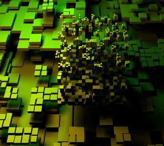 Обои на телефон графика, прекрасные, последние, новый, зеленые, желтые, блоки, абстрактные, hd, 3д, 3d green graphics, 3d, 2013