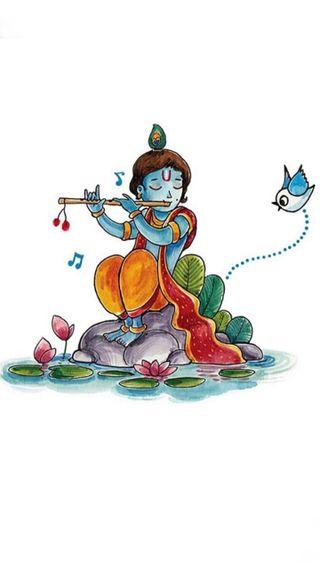 Обои на телефон религиозные, кришна, картина, индийские, бог, shri, matki, makhan, krishan, hinduism