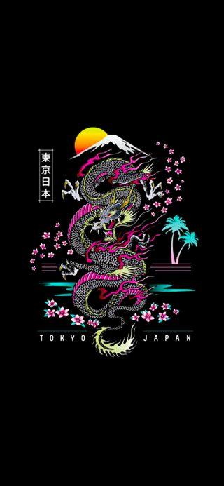 Обои на телефон японские, маска, дракон, dragon