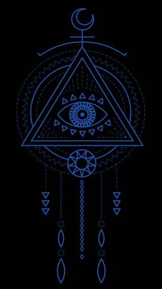 Обои на телефон янь, мандала, синие, священный, логотипы, космос, инь, знаки, звезда