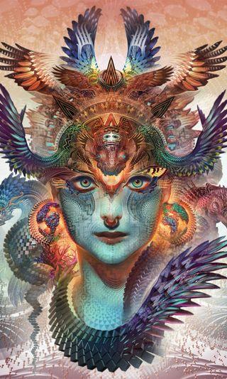 Обои на телефон art, dragon, hd, абстрактные, аниме, арт, красочные, дракон, женщина, королева, религия, яркие