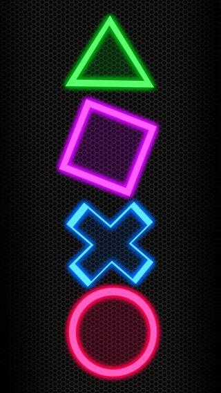 Обои на телефон треугольник, неоновые, молния, игра, playstation, bottons