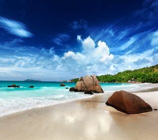 Обои на телефон тропические, рай, пляж, песок, море, лето, камни, берег