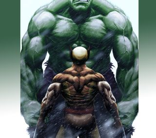 Обои на телефон росомаха, халк, против, марвел, wolverine vs hulk, marvel