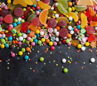 Обои на телефон красочные, желтые, оранжевые, конфеты, сахар, сладости, желе