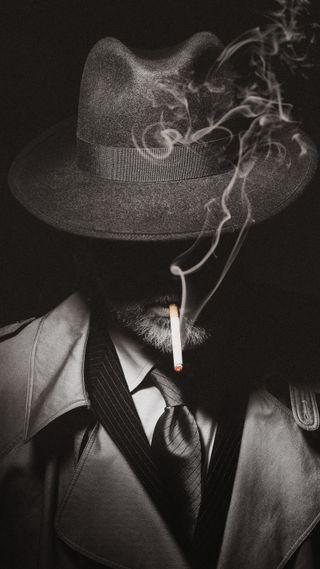 Обои на телефон шляпа, ретро, черные, туман, темные, сигареты, нуар, мотивация, дым, белые, smoking detective, gloomy, DARK