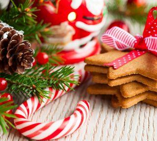 Обои на телефон украшение, рождество, gingerbreads, cone
