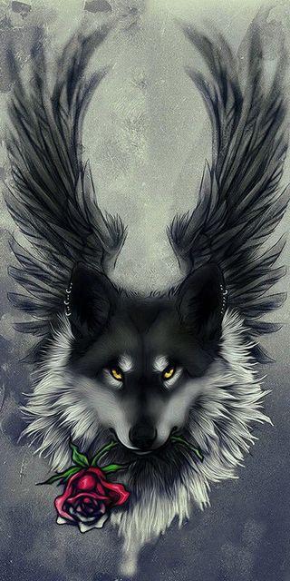 Обои на телефон крылья, черные, розы, волк