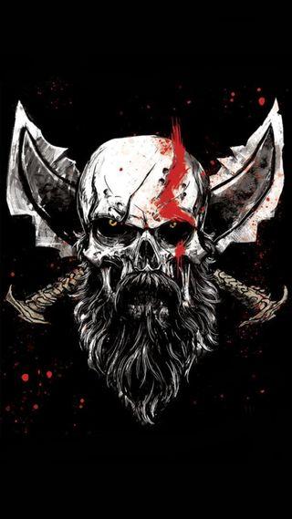 Обои на телефон god of war, playstation, sony, god of war skull, череп, бог, игры, война, сони