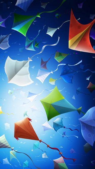 Обои на телефон полет, летать, синие, kites, kite